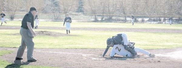Photo by Don Nelson Jacob McMillan was out at the plate attempting an inside-the-park homer against Oroville.