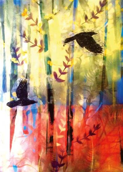 "Photo courtesy of  Confluence Gallery ""Crows,"" by Janet Fagan, is part of the ""Methow Open Call"" exhibit."