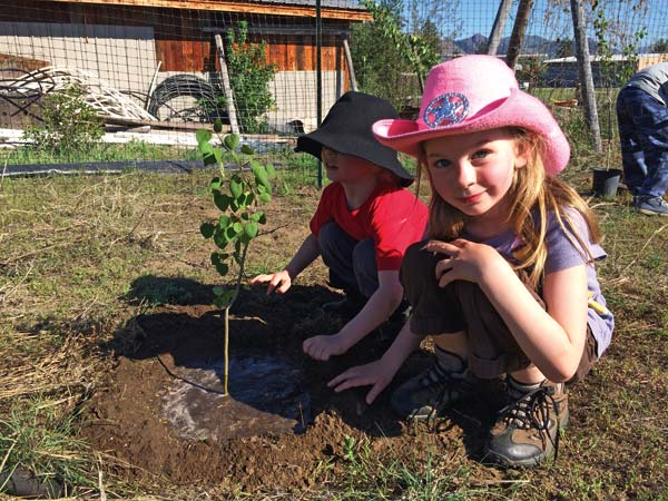 Photo courtesy of Methow Valley Elementary School Kids in the nature club admired one of the 40 aspen trees they planted.