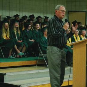 Photo by Darla Hussey Teacher Rocky Kulsrud, who is retiring this year, was the featured speaker.