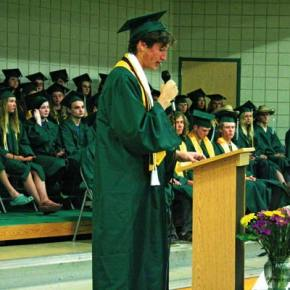 """Photo by Darla Hussey Valedictorian Rowan Post talked about being """"of"""" a place."""