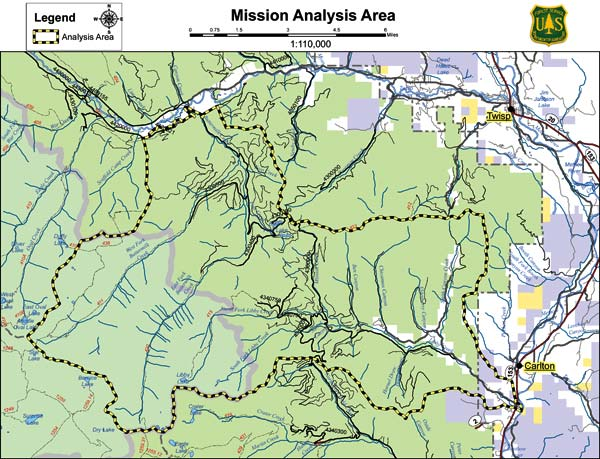 Map courtesy of United State Forest Service The Mission Project encompasses about 50,000 acres in the Libby Creek and Buttermilk Creek watersheds.