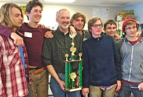 Photo courtesy of Leesa Linck Liberty Bell High School's Knowledge Bowl team shows off the second-place trophy from last weekend's state championships: from left, Skyler Fitzmaurice, Rowan Post, coach Leverett Hubbard, Corey Diamond, Nate Hirsch, Sebastian Hogness and Danny Rodriguez.