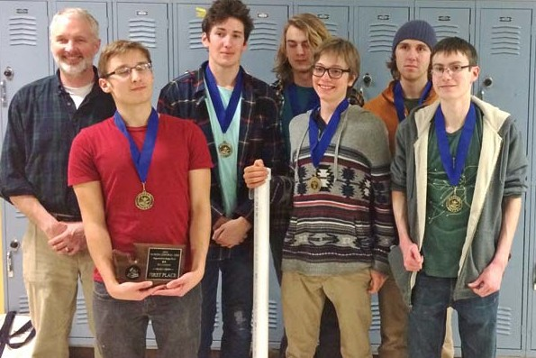 Photo courtesy of Chris Hogness Coach Leverett Hubbard, left, and the first-place LBHS Knowledge Bowl team: from left, Danny Rodriguez, Rowan Post, Skyler Fitzmaurice, Nate Hirsch, Cory Diamond and Sebastian Hogness.