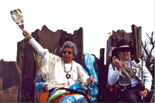 Provided by Randy Lewis Mary Miller Marchand wore her ceremonial white buckskin dress as co- grand marshal of the Wenatchee Apple Blossom Parade with her brother Lewis (date unknown).