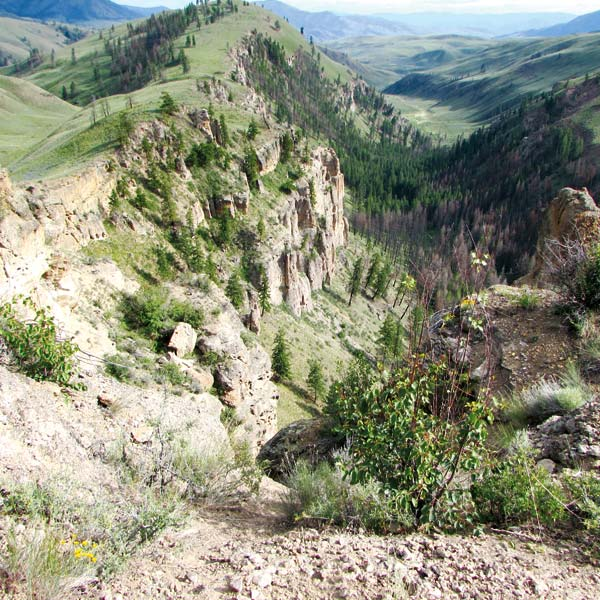 Photo by Joanna Bastian View of Pipestone Canyon from the Rim Trail. Pipestone Canyon was carved initially by glacial meltwater. Later, the Methow Indians carved  stone from the canyon into pipes and bowls.