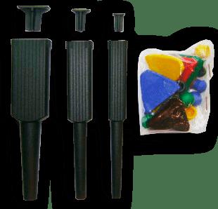 3 Pincéis Sem Ponteira + Batente + Tampas Coloridas