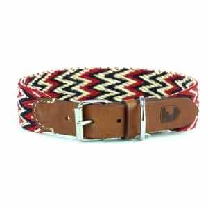 Hondenhalsband rood katoen en leer