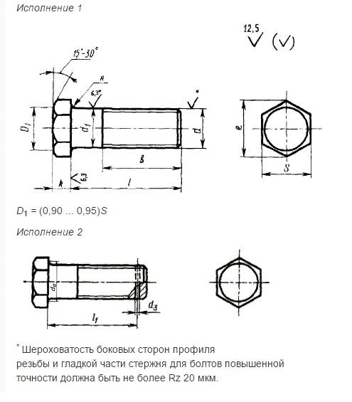 Болты с шестигранной уменьшенной головкой ГОСТ 18125-72 (диам. резьбы свыше 48 мм)