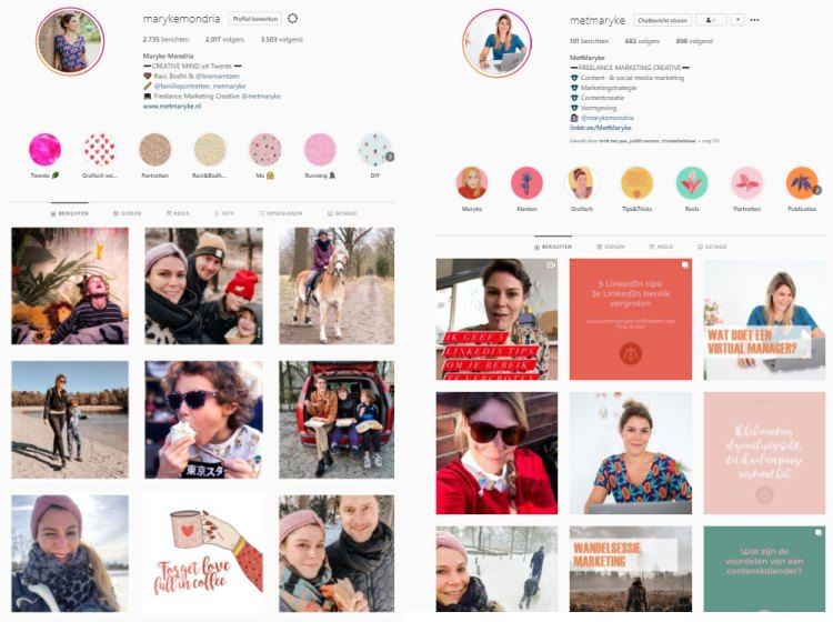 Instagram zakelijk prive