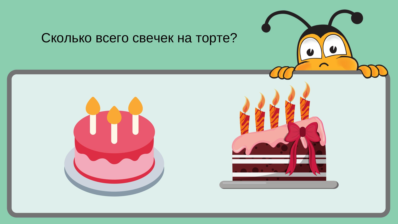 сколько всего свечек на торте?