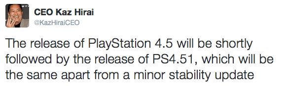 """""""Al lanzamiento de PlayStation 4.5 le seguirá en poco tiempo el de la PS4.51, que serán lo mismo pero con una actualización menor de estabilidad"""""""