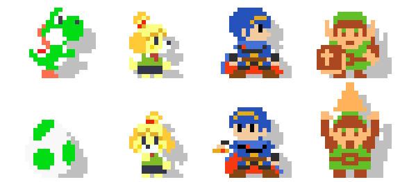 Al escanear los Amiibos en Super Mario Maker, se desbloquean a los personajes como personajes jugables. No tienen ningún tipo de habilidad especial con respecto a Mario, salvo poner una pose y tener efectos de sonido de sus correspondientes juegos.