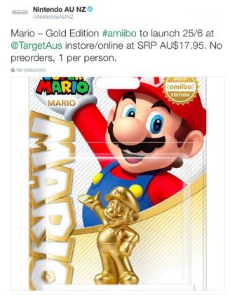 He aquí un Twitt de Nintendo Australia, avisando de la escasez de unidades disponibles de esta figura.