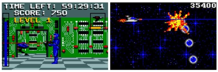 Electrocop (1989) y Gates of Zendocom (1989), dos de las apuestas de Epyx para Lynx.