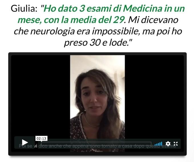 Testimonianze Esami in 7 Giorni Giulia Medicina
