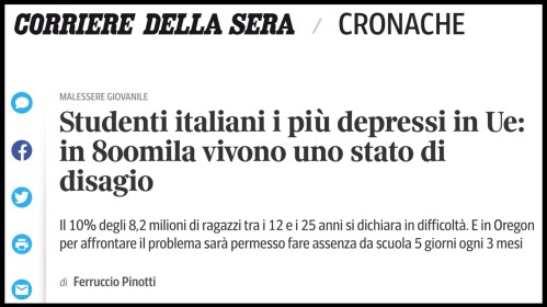 corriere della sera studenti italiani depressione