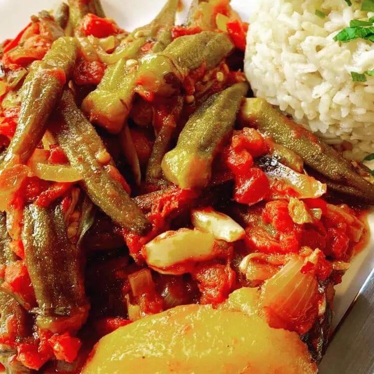 Oven baked okra recipe (Bamies ladera)