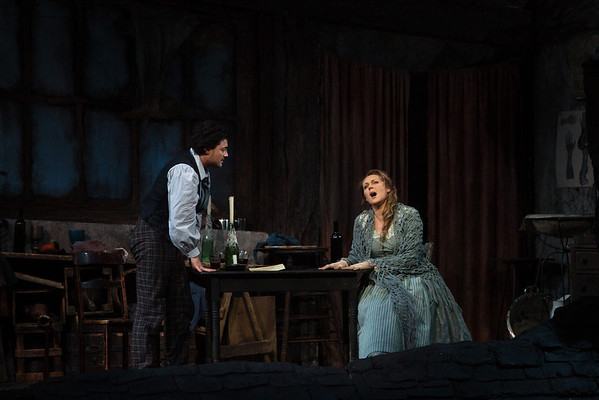 "Vittorio Grigolo as Rodolfo and Kristine Opolais as Mimì in Puccini's ""La Bohème"" at the Metropolitan Opera on April 5, 2014. Photo: Marty Sohl/Metropolitan Opera"