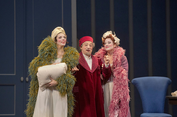 "Rachelle Durkin as Clorinda, Alessandro Corbelli as Don Magnifico, and Patricia Risley as Tisbe in Rossini's ""La Cenerentola.""   Photo: Ken Howard/Metropolitan Opera"