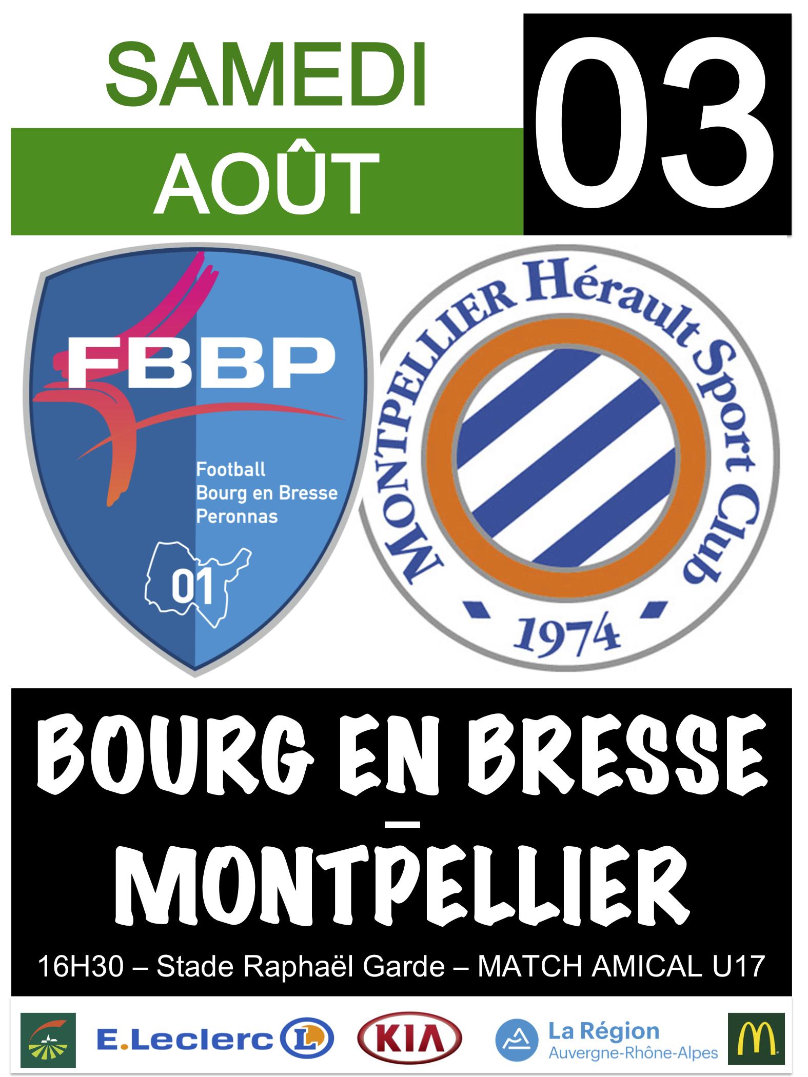 U17 - Match de gala entre Montpellier et Bourg-Péronnas ce samedi