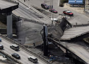 California highway collapses in fireball