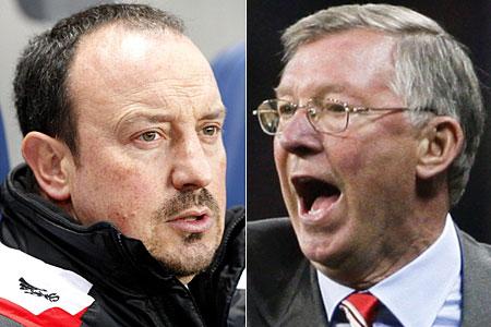 Old rivals: Rafael Benitez and Sir Alex Ferguson