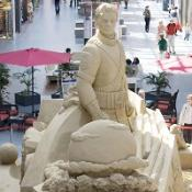 Sand sculpture tribute to Jackson