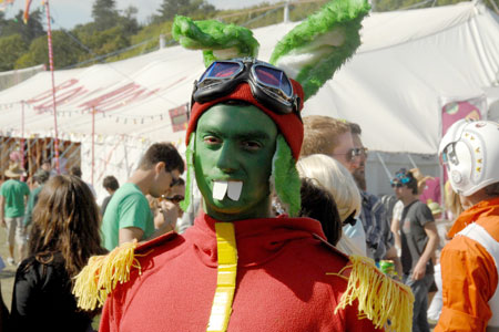 Just one of the many zany costumes at Bestival
