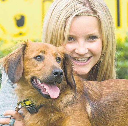 Puppy love: Blue Peter's Helen Skelton meets Barney