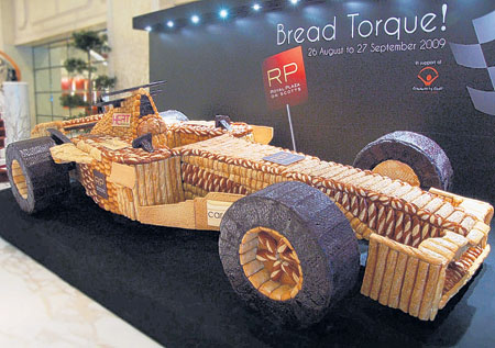 Loafing around: The Grand Prix-inspired car on display at the Royal Plaza On Scotts in Singapore