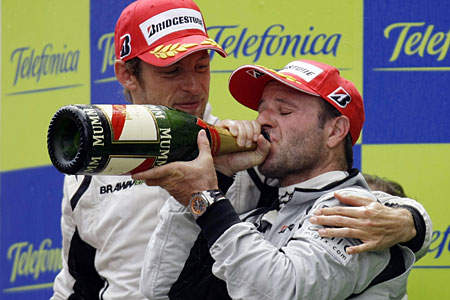 Best of friends: Button, left, with Brawn team-mate Barrichello