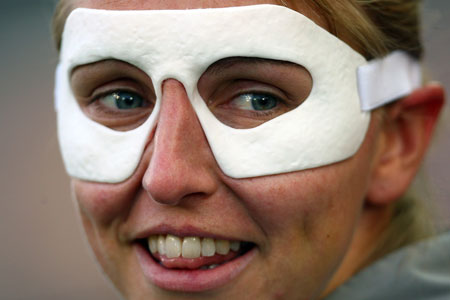 Masked intention: England captain Faye White