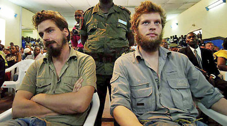 Joshua French, right, and Tjostolv Moland, left, were convicted of murdering their driver and attempting to murder a witness.