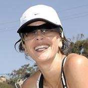 Teri Hatcher training for triathlon