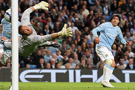City boy: Tevez scored twice against his former club West Ham last night