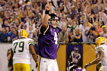 Old favourite: Brett Favre made history against his former team
