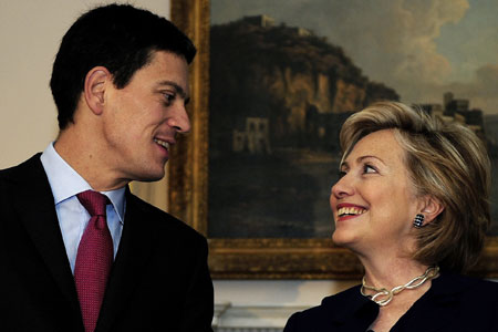 Special friendship: David Miliband greets Hillary Clinton ahead of their meeting in London