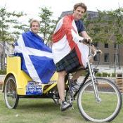 Ben Fogle and James Cracknell set off on a 450-mile rickshaw ride