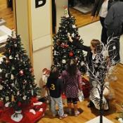 Christmas decorations appear at a shopping mall in Bristol - two-and-a-half months early