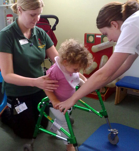 Three-year-old Blossom Burton is learning to walk again after suffering a stroke