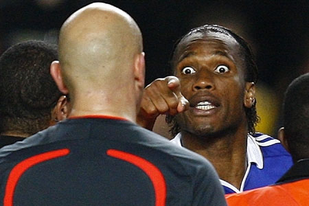 The eyes have it: Didier Drogba rages at the ref