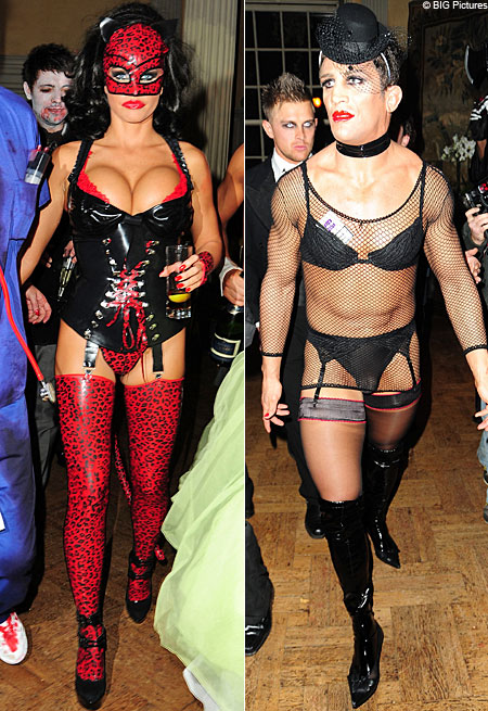 Katie Price dresses up for Hampton Court Palace Halloween bash while her boyfriend Alex Reid steps out in kinky drag