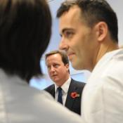Conservative Party leader David Cameron during a visit to the Royal Marsden Hospital in London