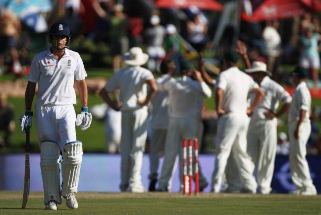 Alastair Cook walks off dejected after losing his wicket to Friedel de Wet for 15