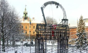 Giant Swedish Christmas goat that always gets burnt down gets burnt down