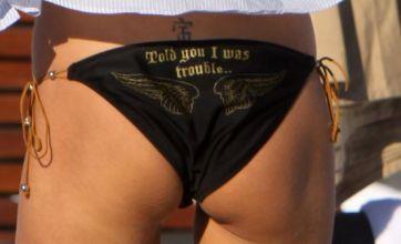 Victoria Silvstedt's bikini bum flash