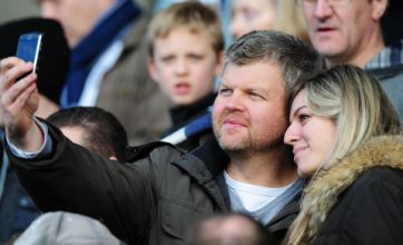 Adrian Chiles pictured with mystery blonde