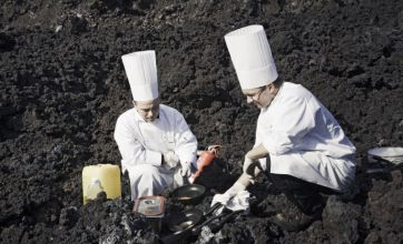 Icelandic chefs cooked gourmet meal on volcanic lava