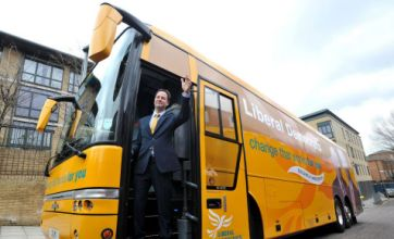 Nick Clegg showcases election buses despite rail funds promise